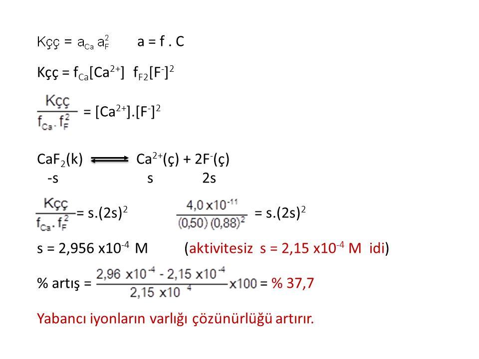 a = f . C Kçç = fCa[Ca2+] fF2[F-]2. = [Ca2+].[F-]2. CaF2(k) Ca2+(ç) + 2F-(ç) -s s 2s.